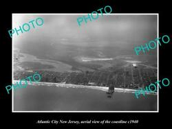 Old Large Historic Photo Of Atlantic City New Jersey Aerial Of Coastline 1940 5