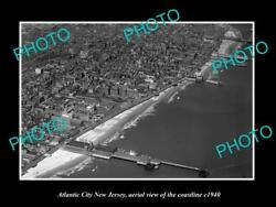 Old Large Historic Photo Of Atlantic City New Jersey Aerial Of Coastline 1940 2