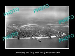 Old Large Historic Photo Of Atlantic City New Jersey Aerial Of Coastline 1940 4