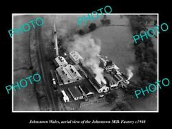 Old Large Historic Photo Of Johnstown Wales Aerial View Of Milk Factory C1940