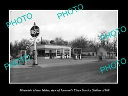Old Large Historic Photo Of Mountain Home Idaho The Utoco Gas Station C1960