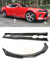For 16-up Camaro Ss Ls Lt Rs Carbon Fiber Zl1 Style Side Skirt Panel And Front Lip