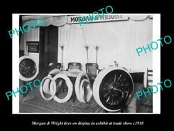 Old Large Historic Photo Of The Morgan And Wright Tires Auto Show Display C1910