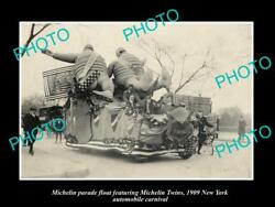 Old Large Historic Photo Of Michelin Man Tires Parade Float New York C1909
