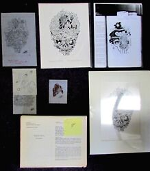 Kelly Freas Drawing Queen Of Angels Sketches And A.p. Print Greg Bear W/manuscript