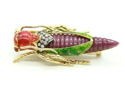LADIES VINTAGE RETRO 18K YELLOW GOLD ENAMELED GRASSHOPPER DIAMOND RUBY BROOCH