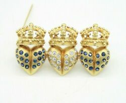 LADIES VINTAGE RETRO 18K YELLOW GOLD SAPPHIRE & DIAMONDS 3 CROWN HEARTS BROOCH