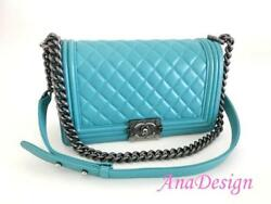 Chanel Boy Medium Blue Lambskin Crossbody Messenger Bag RHW wAuthenticity Cert