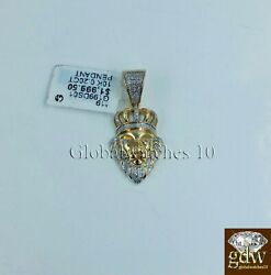 10k Yellow Gold Lion Head 1.25 Inch Charm/pendant With Real Diamonds Angel.
