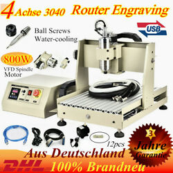 4 Axis USB 3040 Router Engraver Engraving Milling Machine 800W VFD Spindle Motor