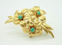 Ladies Vintage Retr0 18k Yellow Gold 3 Flowers Pin Brooch With Turquoise Stones