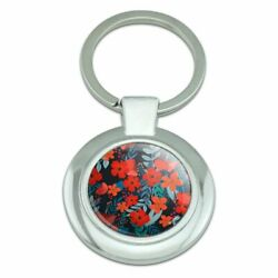 Cecilie Flowers Pattern Classy Round Chrome Plated Metal Keychain
