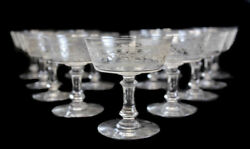 13 Continental Artisan Glass And Etched Acid Sherbet Compotes C.1940