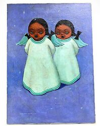 Jose Samano Torres Mexican 1942 Oil On Canvas Painting Of Two Angel Girls