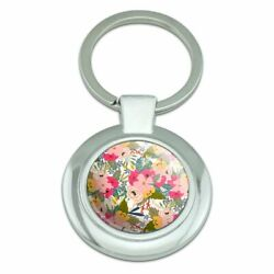 Softly Flowers Floral Pattern Classy Round Chrome Plated Metal Keychain