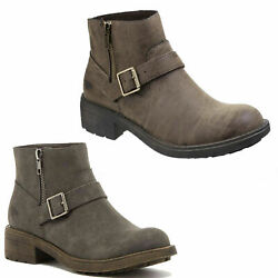 Womens Rocket Dog Thyme Zip Up Biker Harness Chelsea Ankle Boots Sizes 3 to 8