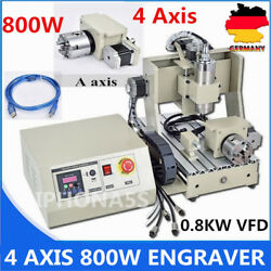 USB 800W VFD 4 Axis Engraver 3D 3020 Router Engraving Drill Milling Machine 220v