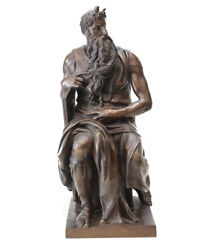 Ron Liod Sauvage 19th/20th C Bronze Sculpture - Moses After Michaelangelo