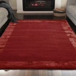 Arlo Ascot Solid Bordered Wool Viscose Hand Woven Scarlet Red Living Room Rugs