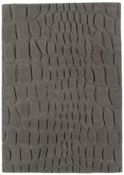 Croc Grey Graphite Soft Hand Tufted 100 Wool Geometric Carved Living Room Rug