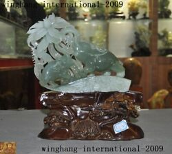 China Fengshui Natural Green Jade Xiuyu Hand-carve Animal Elephant Flower Statue
