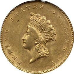 1855 Type 2 Liberty Head 1 Gold, Ngc Ms61. Brilliant Uncirculated