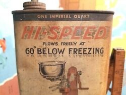 Rare Vtg 1930and039s Hi-speed Household Oiler Tin Can Imperial Quart Gas Oil Station