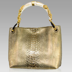 Silvano Biagini Designer Gold Beryl Genuine Python Leather Bag wSeashell Handle