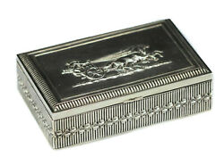 C1900 German .800 Silver Hinged Box. Gilt Interior. Fine Repousse Troika 7.8 Ozt