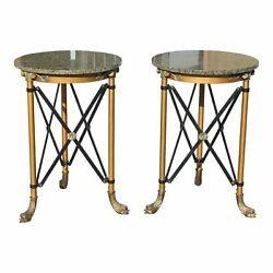 Fine Pair of French Neoclassical Style Bronze Side Table or Accent Table Marble