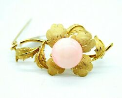 Vintage Retro 18k Yellow Gold Flower Pin Brooch With 16mm Light Pink Coral