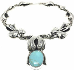 Taxco Mexican Sterling Silver Turquoise Calla Lily Floral Flower Necklace Mexico