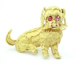 VINTAGE RETRO 18K YELLOW GOLD  SMALL DOG PIN BROOCH WITH RUBIES