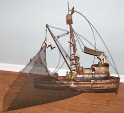 Curtis Jere Metal Sculpture Fishing Boat Net Birds Maria Double Signed