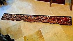 Antique 18-19c Chinese Wood Carved Piersed Gilt Temple Panel Phoeni Motif 80l