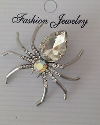 LADIES CRYSTAL AND RHINESTONE SPIDER COSTUME  BROOCH IN CLEAR STONES