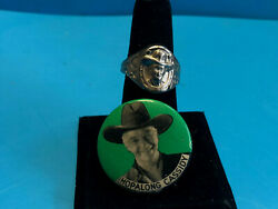 Old Vtg Collectible Bill Hopalong Cassidy Pin Back Button And Ring Pin Jewelry