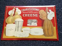 Charles Cuomo Cheese From New York Tin Over Cardboard Sign,see My Porcelain Neon