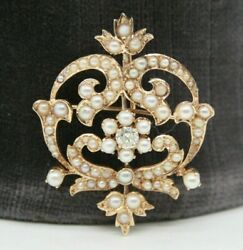 Vintage 14k Yellow Gold Seed Pearl Pin Brooch Pendant With A Round Diamond