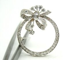 VINTAGE RETRO 14K WHITE GOLD CIRCLE OF LIFE BOW DIAMONDS PIN BROOCH 33MM
