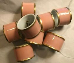 Fitz And Floyd Set Of 8 Renaissance Peach Napkin Rings With Gold Trim Euc
