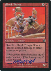 Mtg Magic Shock Troops Mercadian Masques Signed By Artist Jeff Miracola W/ Coa