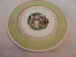 Vintage Colonial Couple Dancing Plate From Royal China Inc. Light Green H1