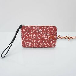NWT New Coach F67514 Corner Zip Wristlet Wallet Canvas Lace Heart Red Multi $75 $29.95
