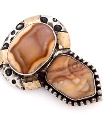 Dian Malouf Sterling Silver And 14k Yellow Gold Agate And Drusy Pendant/brooch