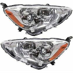 Headlight Set For 2012-2014 Toyota Prius C Driver & Passenger Side w bulb