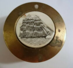 Antique Vtg Home Office Decor Brass Bronze Resin Sea Boat Ship Paperweight