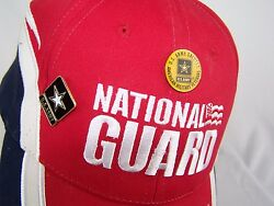 National Guard Baseball Hat Cap Red White Blue W/ 2 Us Army Lapel Pins