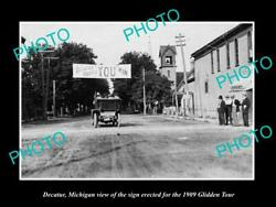 Old Postcard Size Photo Of Decatur Michigan The 1909 Glidden Tour Town Sign