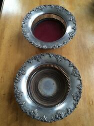 Antique Silver Plate Wine Coasters With Hallmarks